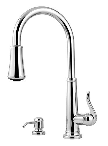 hfield 1-Handle Pull-Down Kitchen Faucet with Soap Dispenser, Polished Chrome ()