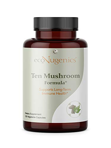 ecoNugenics – Ten Mushroom Formula – 120 Capsules | Comprehensive Blend of Organic Medicinal Mushrooms | Supports Immune System & Total Body Health | Natural, Safe & Effective
