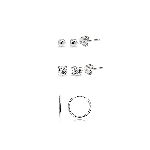 Hoop Silver Stud - 3 Pairs Sterling Silver 10mm Endless Hoops, 2mm Round CZ & Ball Stud Unisex Cartilage Earrings Set