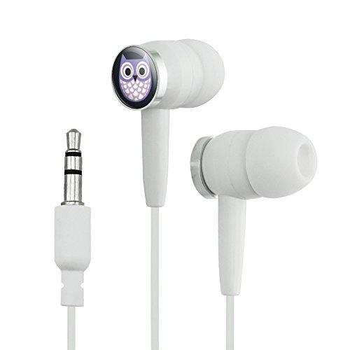 Cute Purple Owl Novelty In-Ear Earbud Headphones -...
