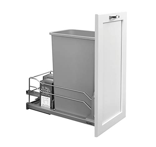 Rev-A-Shelf - 53WC-1550SCDM-117 - Single 50 Qt. Pull-Out Silver Waste Container with Soft-Close Slides (Trash Compactor 12 Inch)