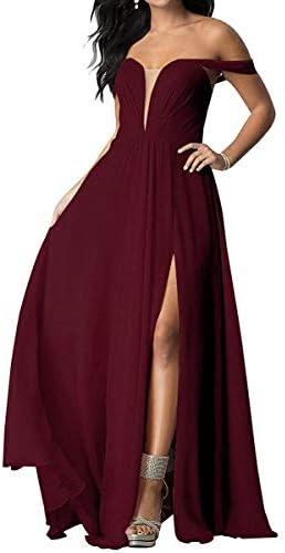 여성용 오프숄더 시폰 포멀 이브닝 드레스 긴 사이드 슬릿 프롬 가운 / 여성용 오프숄더 시폰 포멀 이브닝 드레스 긴 사이드 슬릿 프롬 가운