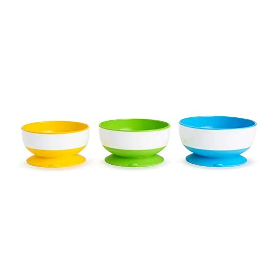 Munchkin Stay Put Suction Bowls (Mutlicolor, Pack of 3)