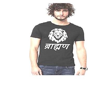 d5559d635 ATTITUDE START OF FASHION Men's Cotton Lion Print T-shirt (Black, Large)