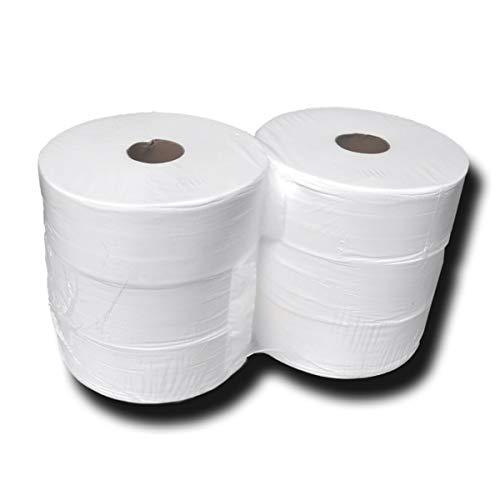 Jumbo toiletpapier, grote rollen, jumborollen, toiletpapier, pulp, 2-laags, hoogwit, 100% cellulose, lengte ca. 360 m…