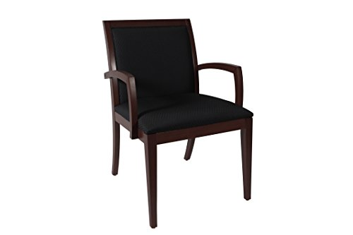 Wood Deep Seat Side Chair – Office, Reception, Waiting Rooms – Fabric Back (Mahogany Finish, Black Fabric) For Sale