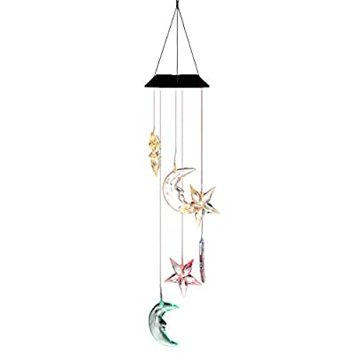 Romantic LED Wind Chime Lights,Color-Changing Solar Light Outdoor Waterproof Patio Lights Decorative Mobile Star Moon Chandelier Lighting for Home,Party,Festival Decor,Valentines Gift,Night Garden