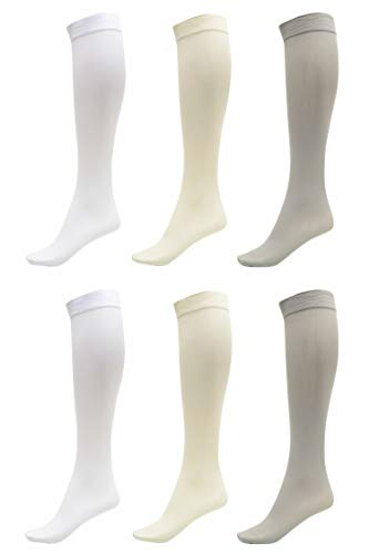 6 Pack of Women Trouser Socks with Comfort Band Stretchy Spandex Opaque Knee High, 2 White, 2 Silver, 2 Off White
