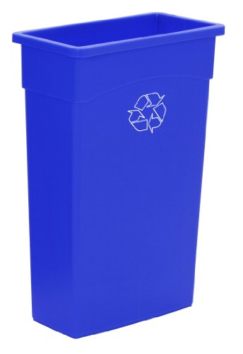 Continental 8322-1 23-Gallon Wall Hugger LLDPE Recycling Receptacle, Rectangular, Blue