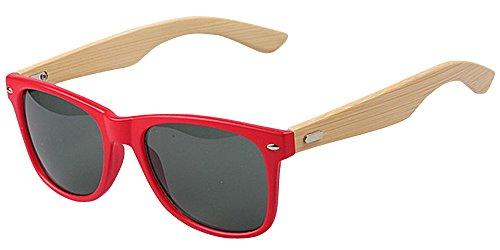 de UV400 Piernas de sol Gafas de de Bambú las Rojo la BOZEVON Manera q16twcPA