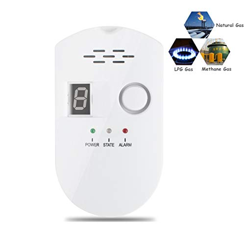 Zinnor Gas Leak Alarm Detector Sensitivity LPG LNG Coal Natural Gas LeakDetector for Home Prevent Fire Explosions with ≥85dB Sound Warning and Digital Display