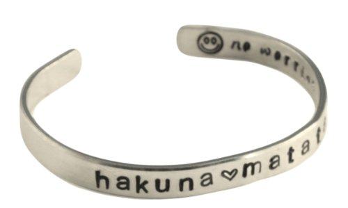 hakuna matata - Hand Stamped Aluminum Cuff Bracelet Adjustable Skinny Bracelet Lion King Inspired