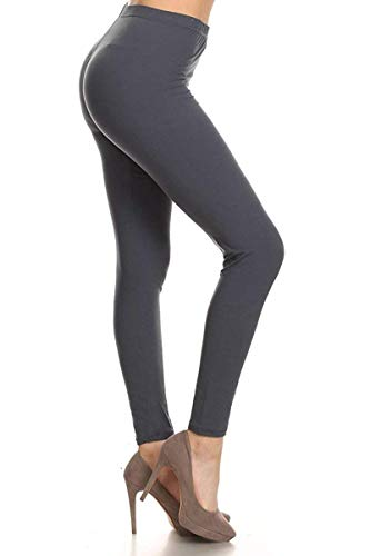 Basic Grey Heart - EP128-3X5X-CharcoalGrey Basic Solid Leggings, 3X5X
