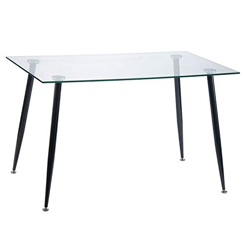 Harper&Bright Designs Dining Table with Solid Metal Leg and Clear Glass Top