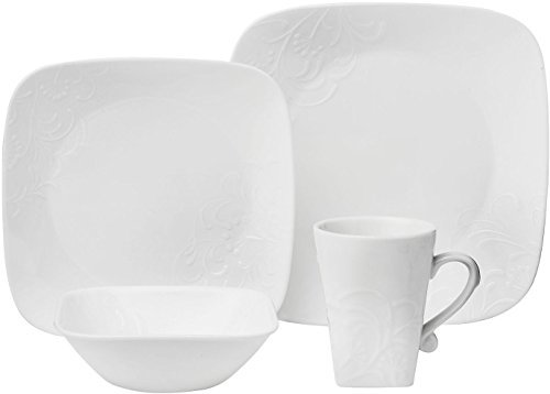 CORELLE Boutique Cherish Embossed Square 16-pc Set (Corelle Embossed Dinnerware)