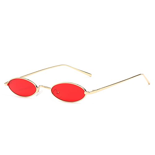 Women Frame Yellow Vintage Sunglasses Red Metal Sun For For Round Glasses Small Men Small Rojo Oval Male Retro 8aw00H