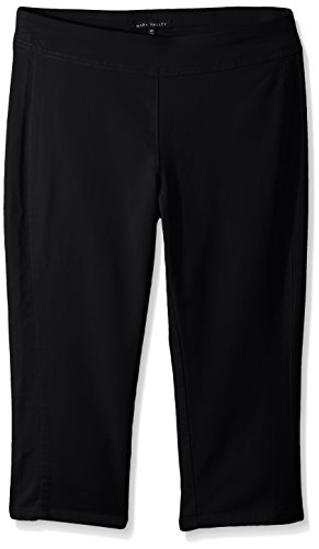 Napa Valley Women's Petite Size Cotton Super Stretch Pull On Straight Leg Capri Pant, Black 8P