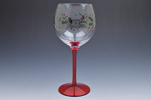 Gorham Red Stem Festive Holly Red Wine Glass