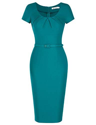 MUXXN Lady Charming Belt Empire Waist Slim Graduation Retro 1950s Midi Dress (Harbor Blue XXL)