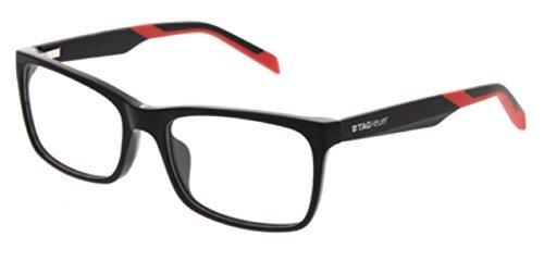 Black Eyeglasses Tag Heuer - Tag Heuer B Urban 0554 Eyeglasses Shiny-Black/Black-Red Temples 56 mm
