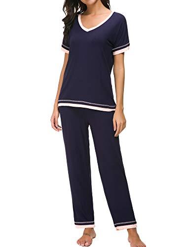 Dolay Plus Size Pajamas Women Cotton Sleepwear 2 Pc Lounging Pjs Top And Pants (Navy, XXL) (Cotton Ribbed Pajama Set)