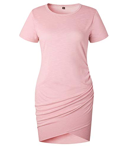 Jersey Short Sleeve Wrap Dress - Mansy Womens Summer Sexy Cocktail Party Dress Short Sleeve Mini Dresses