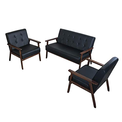JIASTING Mid Century 1 Loveseat Sofa and 2 Accent Chairs Set Modern Wood Arm Couch and Chair Living Room Furniture Sets (8428 Black Set) (Set Leather Loveseat Sofa And Furniture)