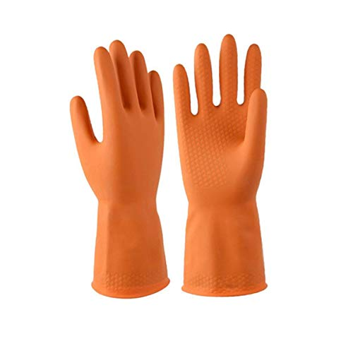 DOUBLE ONE Chemical Resistant Gloves,Safety Work Cleaning Protective Heavy Duty Industrial Gloves,Natural Latex 12.2 Length Orange 1 Pair Size M (Medium)
