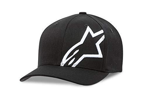 Alpinestars Men's Curved Bill Structured Crown Flex Back 3D Embroidered Logo Flexfit Hat, Corp Shift 2 Black/White, L/XL