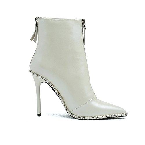 Schuhe Stiefeletten spitze Schwarz High Kurze Sexy Stiletto A Leder Echtes Zehe Damen Stiefeletten Weiß Up Heel Zip 4w77Y6q