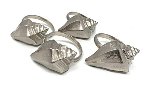 (Excell Home Conch Shell Brushed Nickel Napkin Rings, Set of 4)