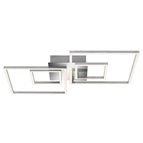 Briloner Leuchten, lámpara de techo regulable con función de memoria, 2 módulos led giratorios, 43,8 W, 3.600 lúmenes, 3000 Kelvin, cromo, 656 x 520 x 96 mm, De Aluminio Cromado