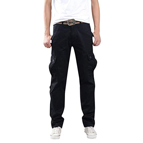 Lined Duck Flannel Dungaree Washed (Men Cargo Pants Military,Vanvler Male Trousers Combat Zipper Work Pants with Multi-pocket Clearance (Black, 38))