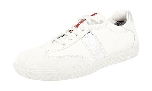 Prada Women's 3E3648 White Leather Sneaker EU 41 / US 11 (Women Prada Sneakers)