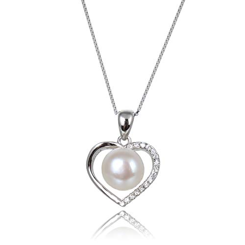 Pearl Heart Shape Pendant - Ameriwal Natural White Color Fresh Water Pearl Heart Shape Pendant Necklace with CZ and 925 Sterling Silver Custom Made for Fashion Wear Suitable for All Occasions and Women