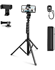 Apeocose 65'' Phone Tripod with Adapter for GoPro, Extended Selfie Stick Tripod for iPhone with 360 Degree Rotating Phone Tripod Mount & Wireless Remote Shutter, Tripod Stand for Camera & Cell Phone