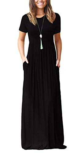 (DEARCASE Women's Round Neck Short Sleeves A-line Casual Maxi Dresses with Pocket Black Large)