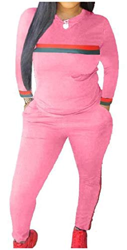 Fieer Womens Cozy Ribbon Workout Long-Sleeve 2 Pieces Tracksuits Outfit Pink XS