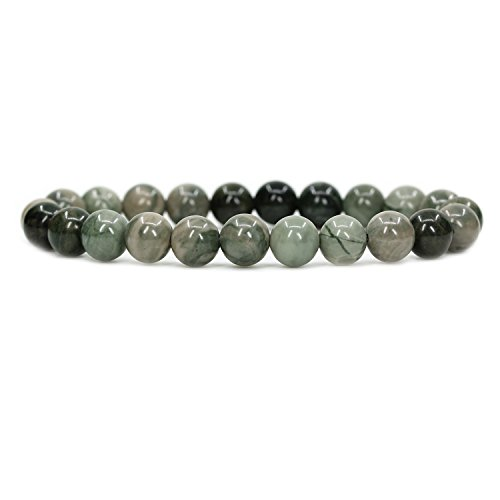 "Amandastone Natural Green Choi Mud Jasper 8mm Round Beads Stretch Bracelet 7"" Unisex"