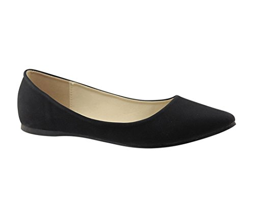 Bella Marie Angie-29 Women's Classic Pointy Toe Ballet Flats,Black,7.5