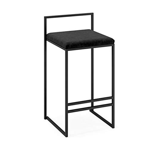 Barstools Chair Full Backed Black Metal Bar Stools, Flannel Cushion Seat Dining Chairs for Kitchen | Pub | Café Bar Counter Stool Max. Load 440Lb