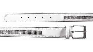 Todd Belt - Mark Todd diamante belt white patent l/xl 95cm by Mark Todd
