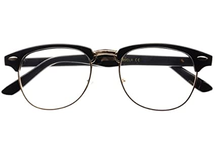 038e742ba1a6e New Half Frame Clubmaster Retro Style Clear Lens Wayfarer Eye Glasses  Frames (Black Gold)