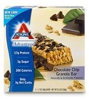 Atkins Advantage Granola Bars, Chocolate Chip, 5/1.7 Ounce (Pack of 2)