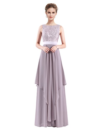 Ever Pretty Womens Sleeveless Long Lace Bridesmaid Dress 10 US Grey