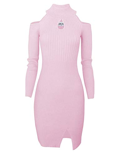 - TAM WARE Women Casual Slim Fit Knit Front Keyhole Sweater Bodycon Dress TWCWD076-INDIPINK-US M