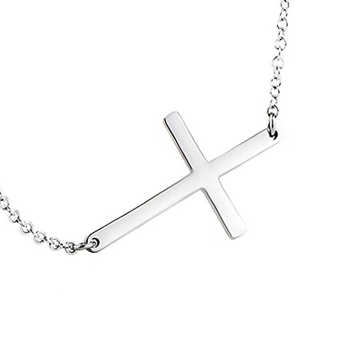 LEMONDROP 925 Sterling Silver Sideways Cross Necklace 16