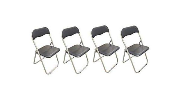 Generic S - Juego de 4 sillas Plegables de Metal Acolchadas ...