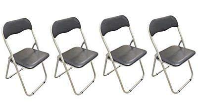 Generic - Juego de 4 sillas Plegables de Metal Acolchado ...