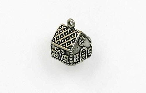 Pendant Jewelry Making/Chain Pendant/Bracelet Pendant Sterling Silver 3-D Gingerbread House Charm ()